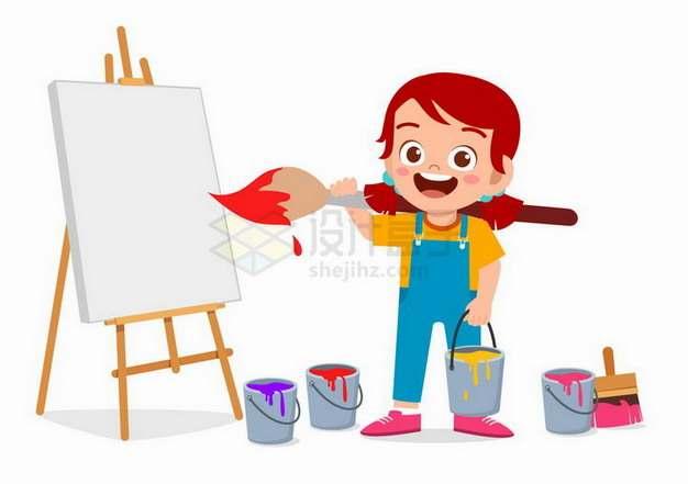 卡通小女孩扛着画笔在画板上绘画png图片免抠矢量素材