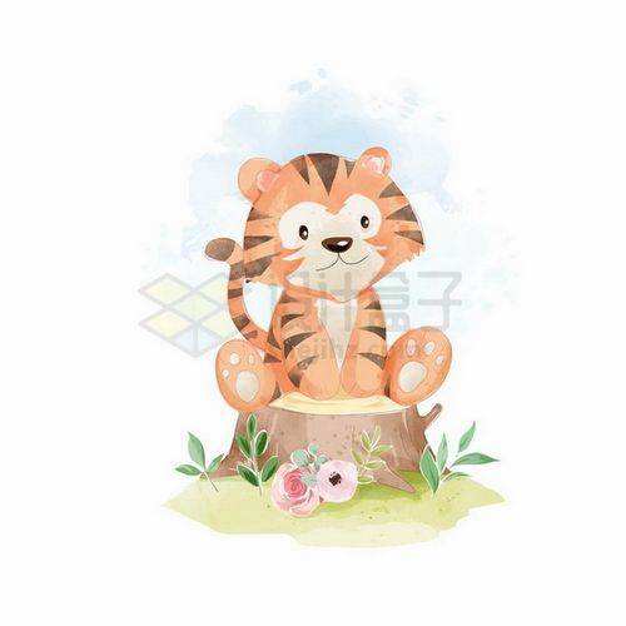 坐在树桩上的卡通小老虎png图片免抠矢量素材