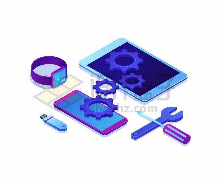 2.5D风格手机平板电脑智能手机U盘等电子产品维修png图片免抠矢量素材