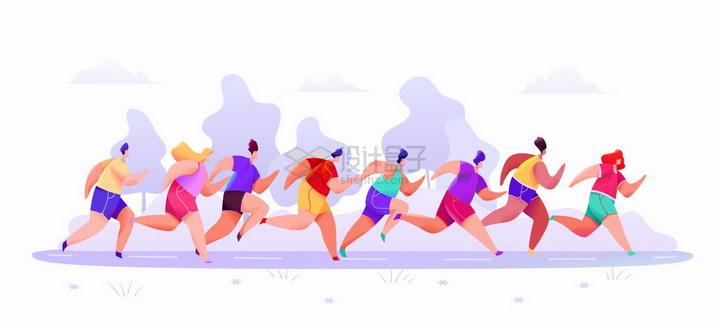 正在跑马拉松奔跑的人群彩绘插图png图片免抠矢量素材 人物素材-第1张