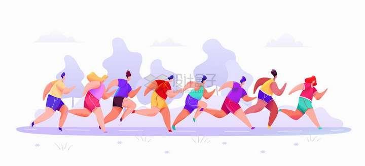 正在跑马拉松奔跑的人群彩绘插图png图片免抠矢量素材
