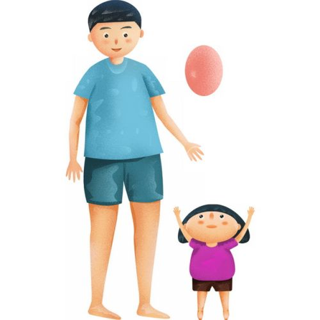 卡通爸爸和女儿玩气球父亲节插画437130png图片素材