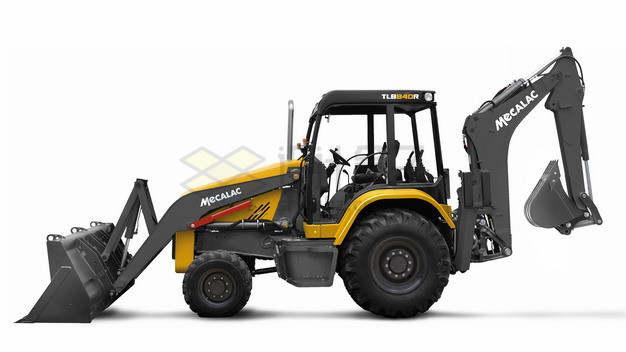 并排放着的两辆黄黑色铲车和挖掘机png图片素材