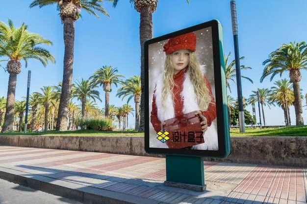 路边广告牌广告灯箱显示画面psd样机图片模板素材