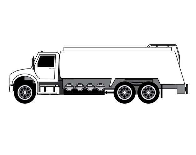 手绘风格槽罐车油罐车危险品运输卡车特种运输车侧视图943759png图片素材