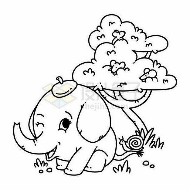 卡通大树下面的小象线条简笔画png图片免抠矢量素材 简笔画-第1张