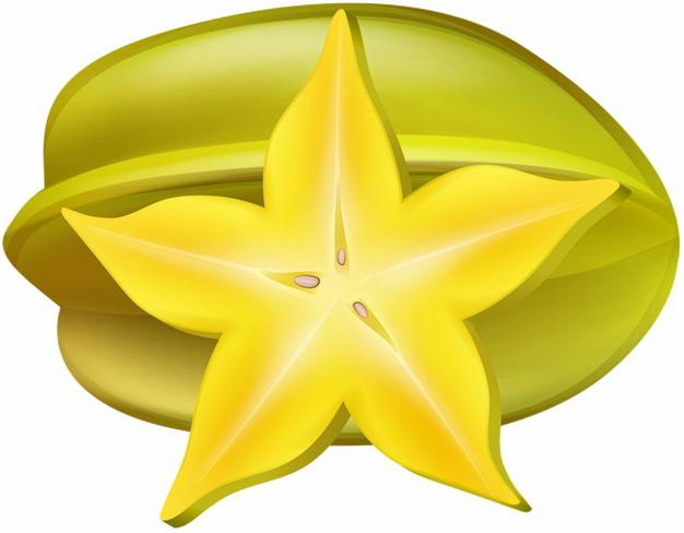 彩绘风格切开的杨桃横切面五角星8137979png图片素材 生活素材-第1张