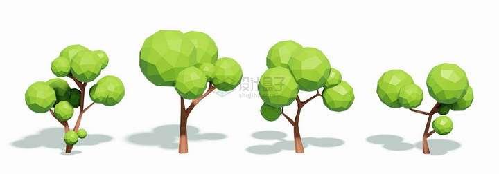 4款多边形3D立体树木大树png图片免抠eps矢量素材