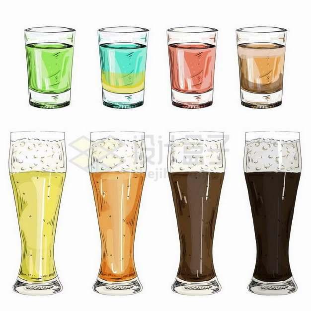 彩绘风格彩色啤酒杯鸡尾酒png图片免抠矢量素材
