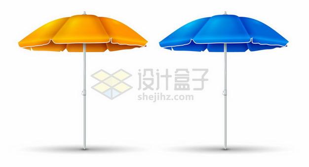 黄色和蓝色遮阳伞沙滩伞png图片素材