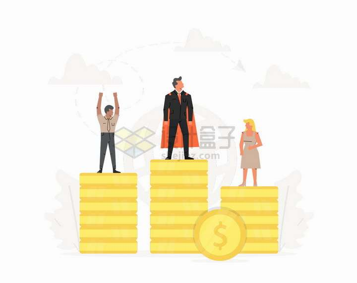 站在金币组成的领奖台上的商务人士销售冠军扁平插画png图片免抠矢量素材
