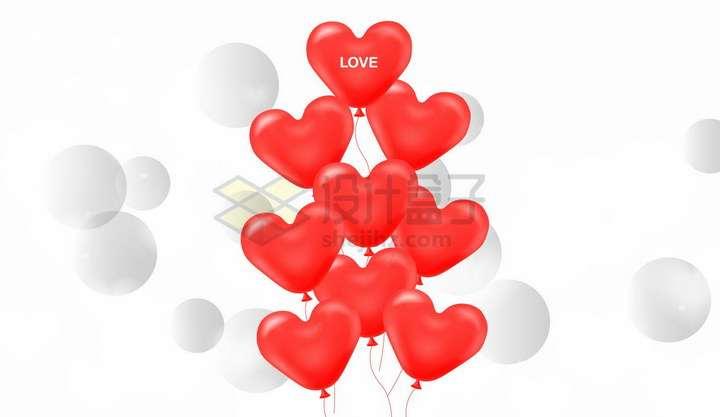 一串红色心形气球和周围的圆球装饰png图片免抠矢量素材