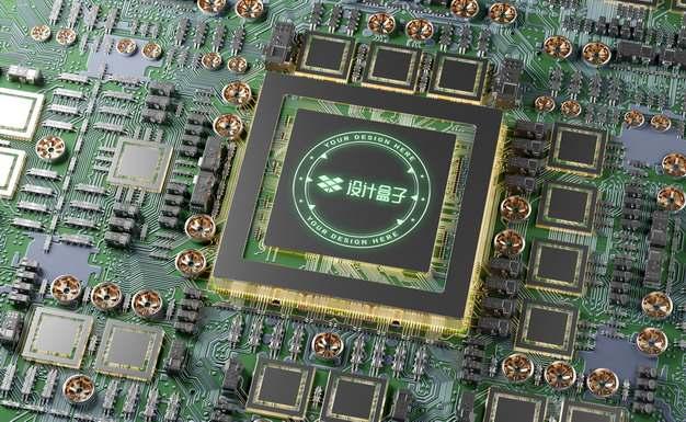 逼真的科技风格的集成电路芯片CPU表面发光图案psd样机图片模板素材