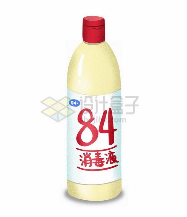 一瓶84消毒液手绘插画1658432png免抠图片素材 生活素材-第1张