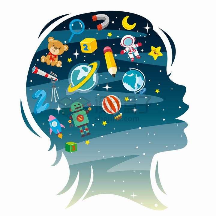 儿童脑袋剪影脑海中的玩具数学外太空想象力配图png图片免抠矢量素材
