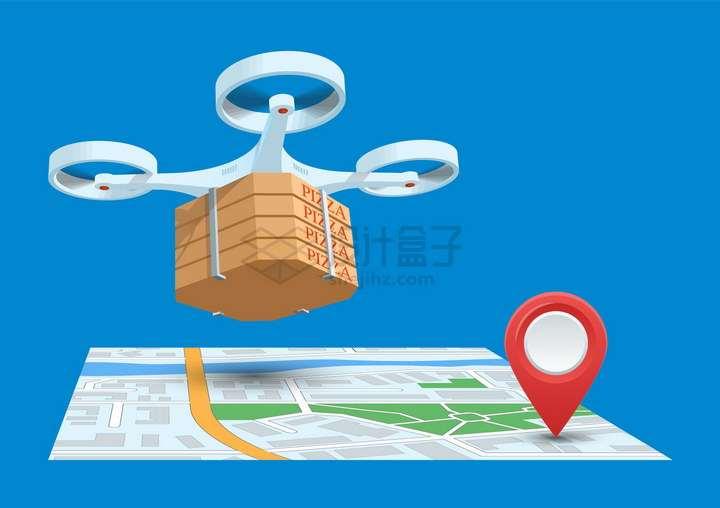 无人机送餐地图和定位标志png图片免抠矢量素材