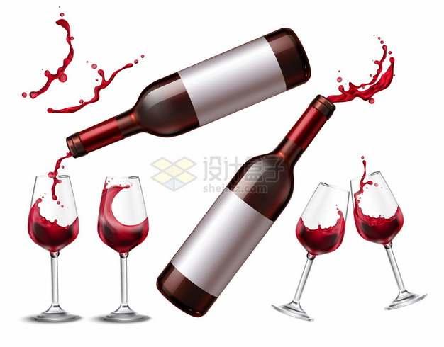 两瓶红酒葡萄酒和高脚杯酒杯液体效果294383png图片素材