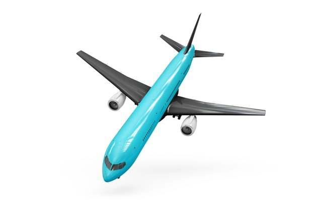 蓝色涂装波音787/777飞机大型客机俯视图png免抠图片素材