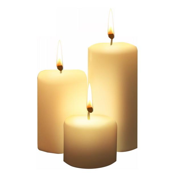三根燃烧的白色许愿蜡烛5335143png图片素材 生活素材-第1张