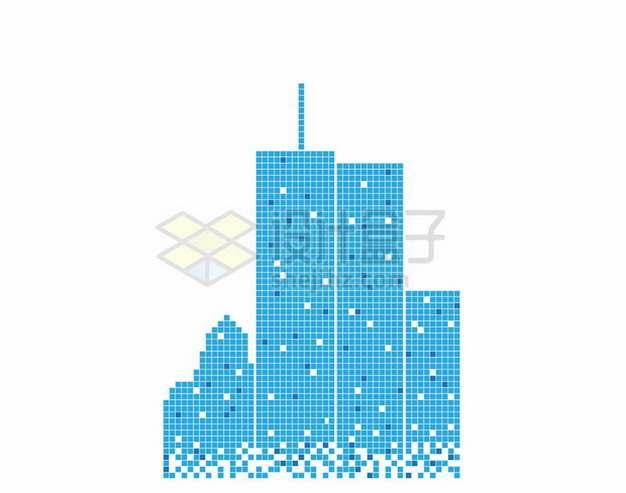 蓝色方块组成的高楼大厦城市天际线787375png图片素材