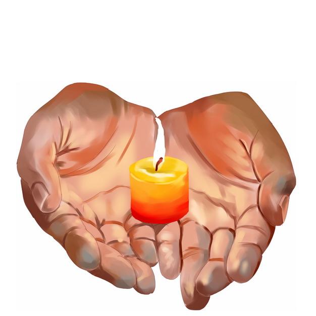 彩绘风格双手捧着许愿蜡烛3945865png图片素材 生活素材-第1张