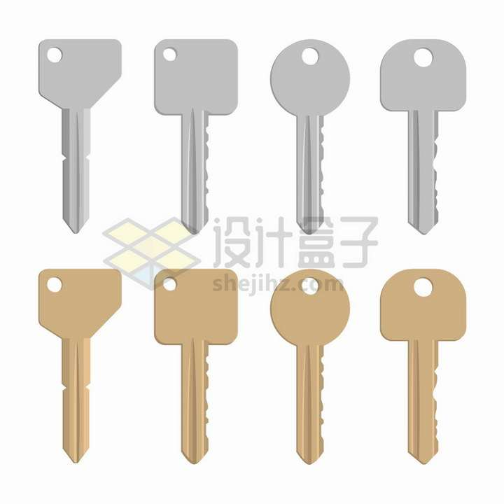 4款银色和铜色的钥匙png图片免抠矢量素材