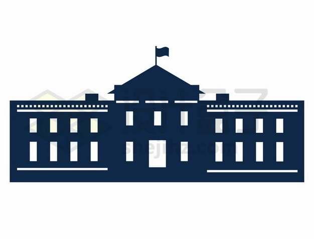 蓝色美国白宫剪影png图片素材