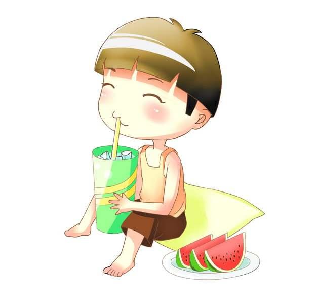 炎炎夏日里卡通男孩吃着西瓜喝着冷饮384666png图片素材