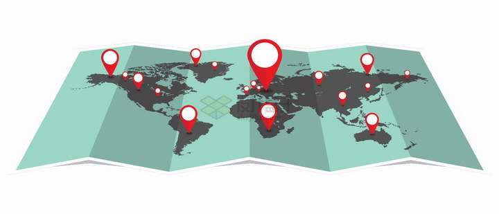 摊开的世界地图和上面的红色定位图标旅游旅行配图png图片免抠矢量素材