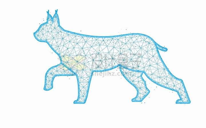 蓝色点线组成的猞猁猫科动物图案png图片免抠矢量素材