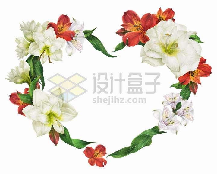 浪漫的心形花环白色红色百合花png图片免抠矢量素材