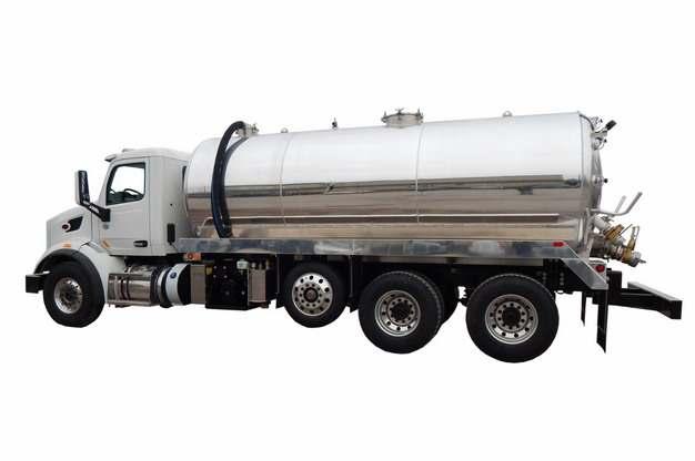 银色槽罐车油罐车危险品运输卡车侧视图325230png图片素材