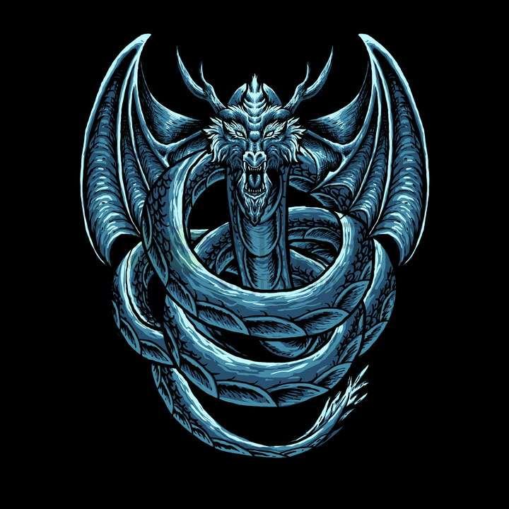 蓝色的巨龙艺术插画png图片免抠矢量素材