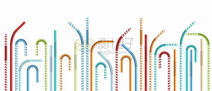 各种条纹颜色的吸管png图片免抠矢量素材