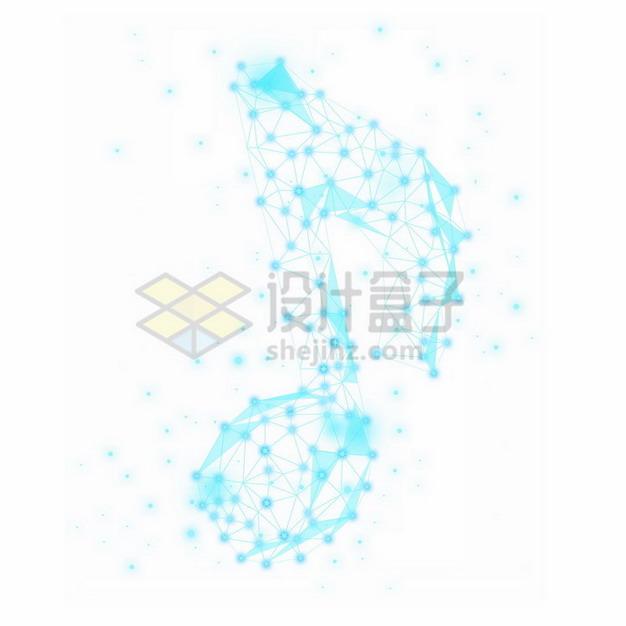 蓝色线条组成的音乐音符432764png免抠图片素材 线条形状-第1张