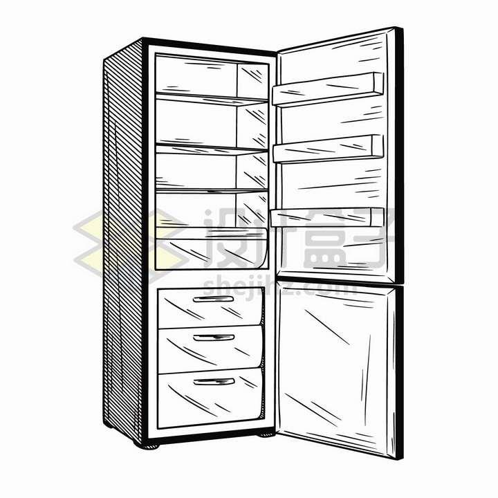 手绘素描风格打开的单门电冰箱家用电器png图片免抠矢量素材