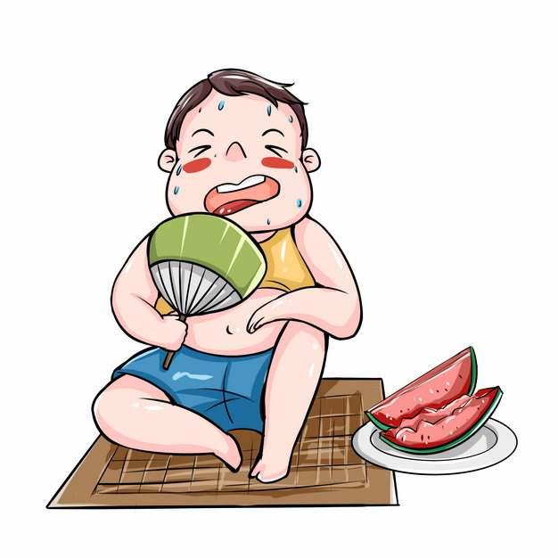 夏天吃西瓜扇扇子纳凉569542png图片素材