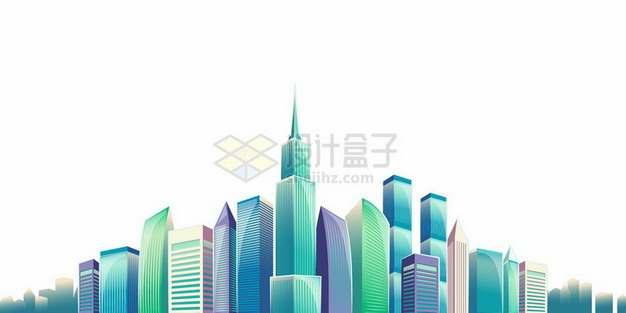 绚丽的卡通城市天际线高楼大厦建筑群387652png图片素材