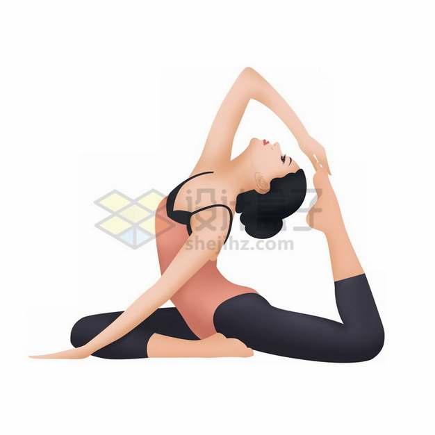 练瑜伽的女孩瑜伽动作插画png免抠图片素材