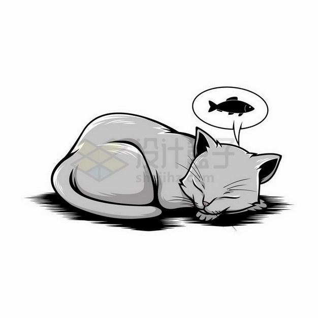 素描手绘趴在地上睡觉梦见有小鱼干的猫咪png图片免抠矢量素材 生物自然-第1张