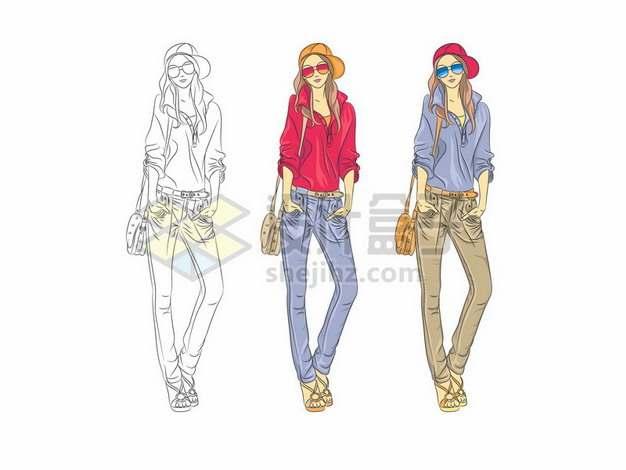 手绘彩绘风格时尚女性身材好的模特插画623069 png图片素材