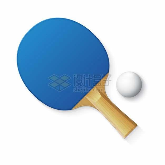 蓝色的乒乓球拍和球432411png图片素材
