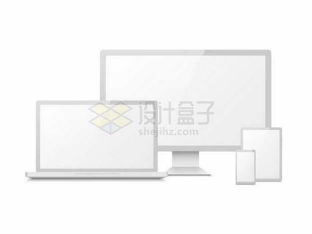 白色边框的电脑显示器笔记本电脑平板电脑和手机展示画面png图片免抠矢量素材