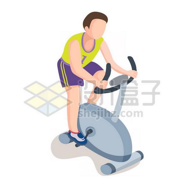 健身房卡通健身男孩骑动感单车png图片素材294844