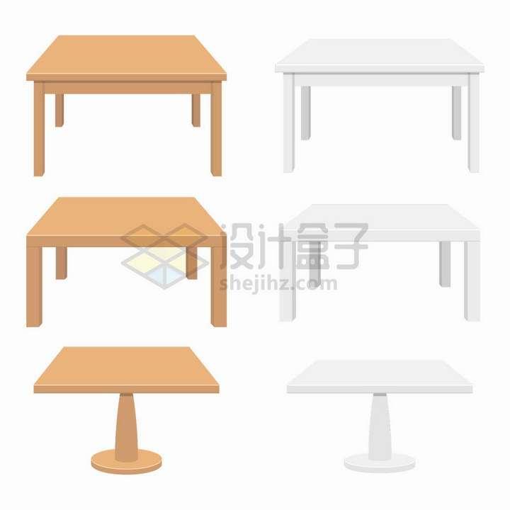 6款木头桌子餐桌和空白的桌子png图片免抠矢量素材