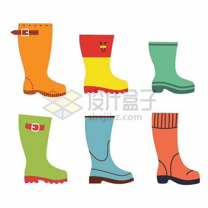 6款扁平化的雨靴雨鞋png图片免抠矢量素材