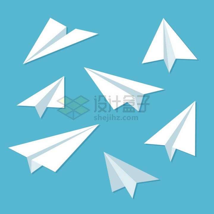 7种不同方向的白色折纸飞机png图片免抠矢量素材