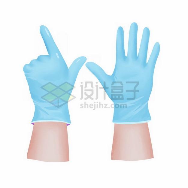 戴着蓝色橡胶手套的双手png免抠图片素材 生活素材-第1张