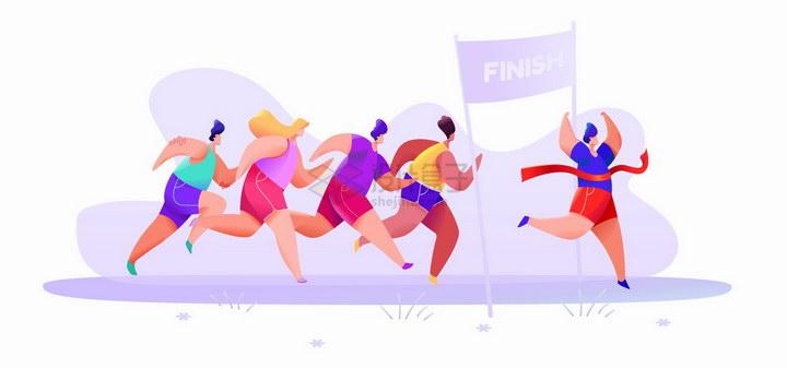 跑马拉松奔跑的人群冲入终点彩绘插图png图片免抠矢量素材 人物素材-第1张