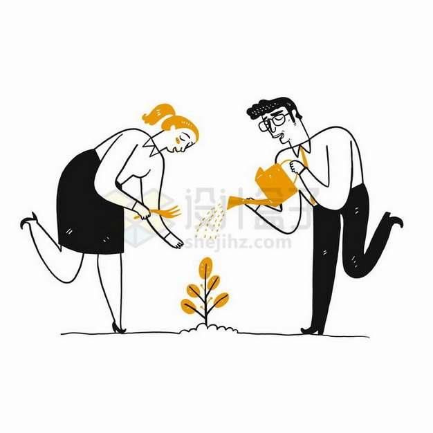 插画风格正在浇水浇花的情侣png图片免抠矢量素材
